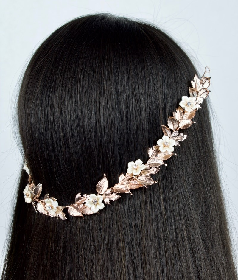 rose gold floral hair vine