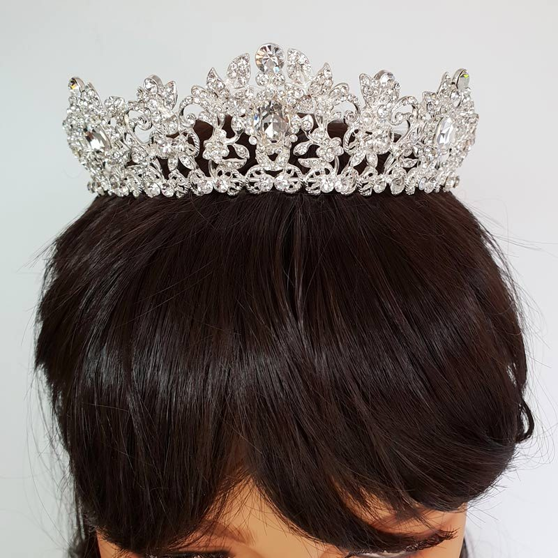 silver bridal wedding crown