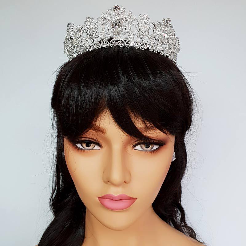silver diamante bridal crown