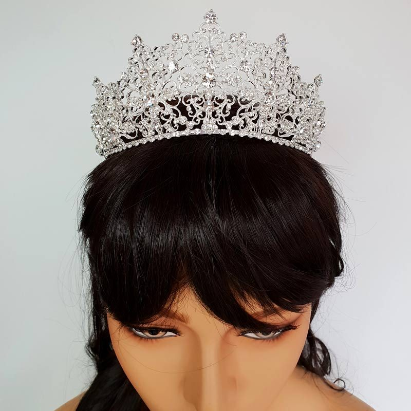 tall silver bridal tiara