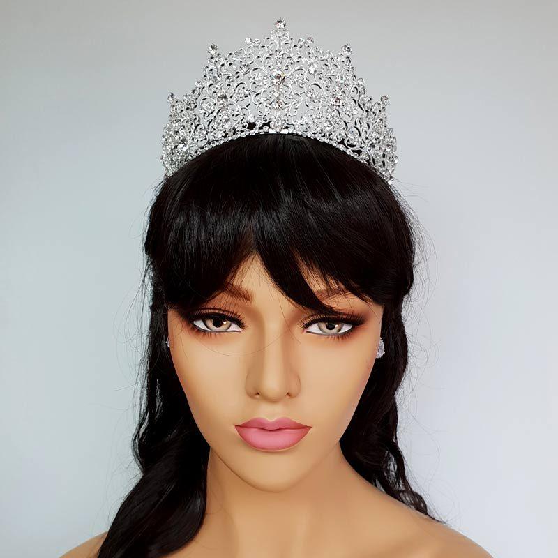 silver tall bridal crown