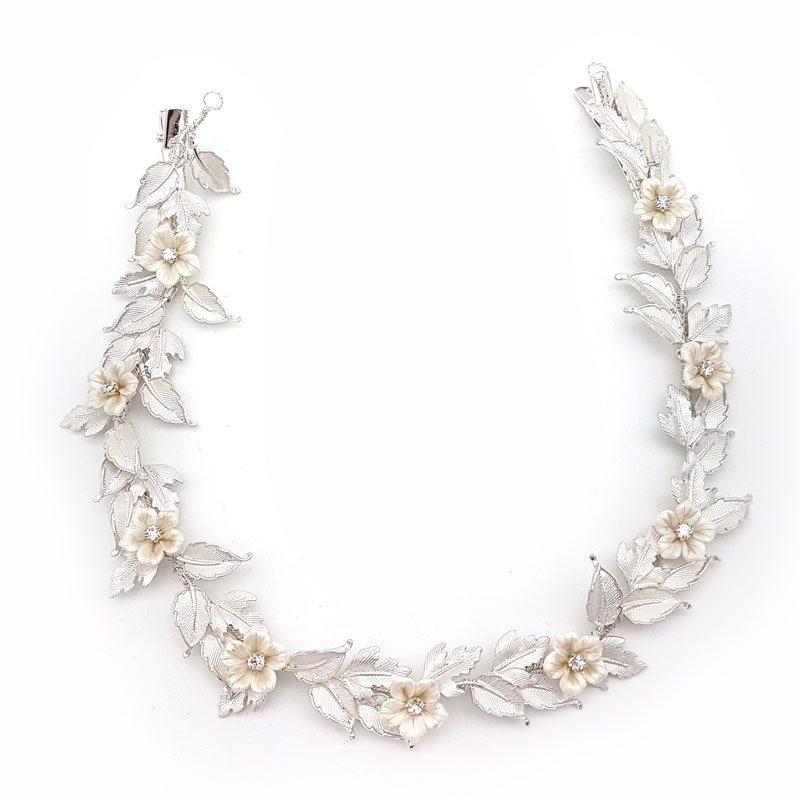 silver floral bridal hair vine