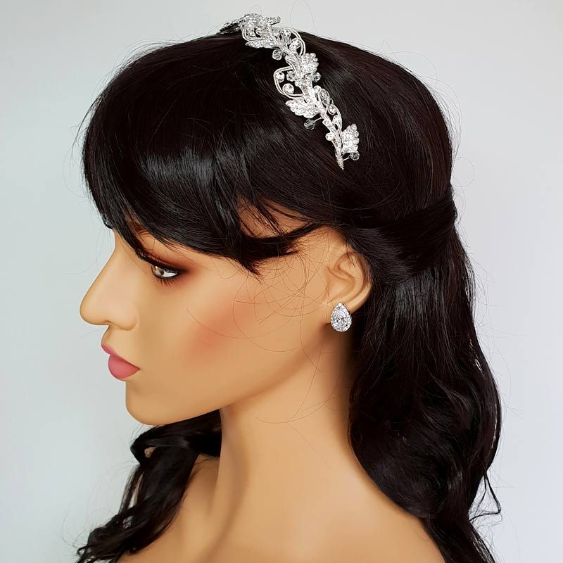 silver crystal headband or tiara