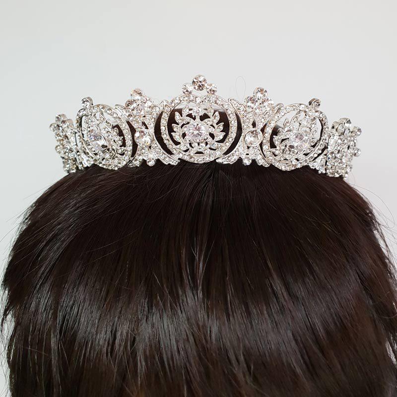 art deco silver bridal tiara