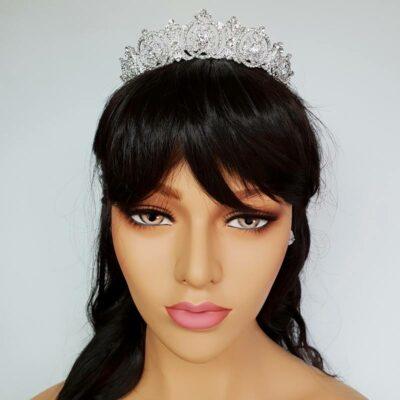 silver art deco bridal crown