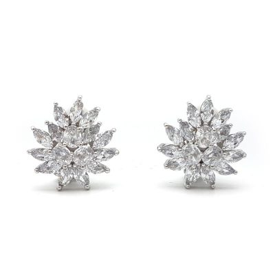 silver cz clip on earrings