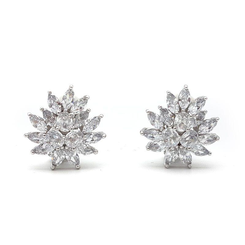 silver cz clip on earrings