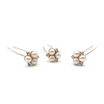rose gold pearl hair pins