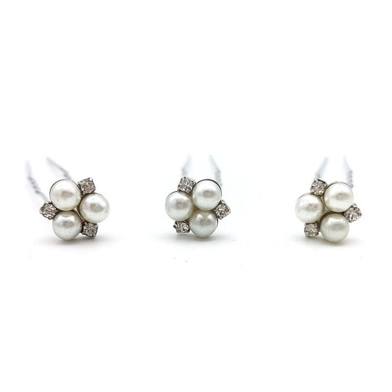 silver pearl hair pins