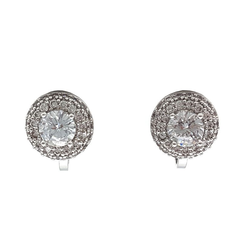 silver cz clip earrings