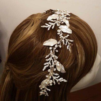 large silver crystal hair vine