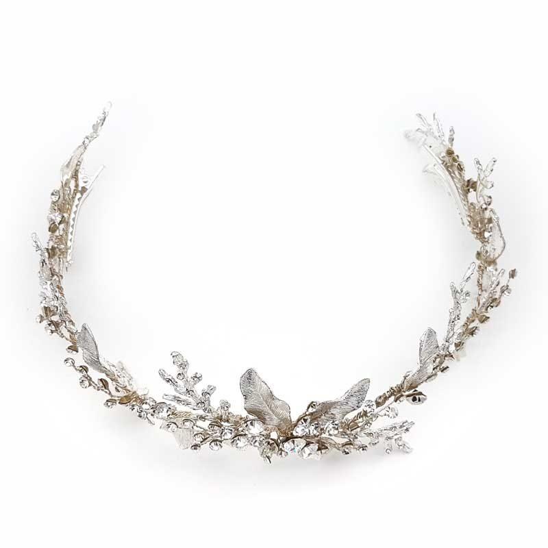 silver large crystal hair vine