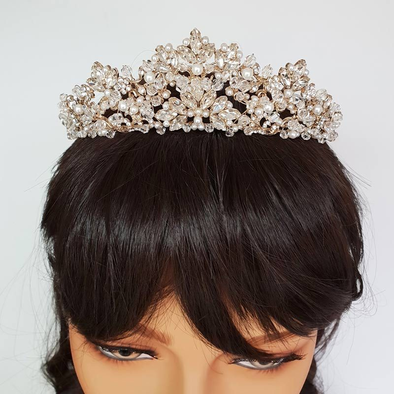 gold pearl and crystal bridal tiara