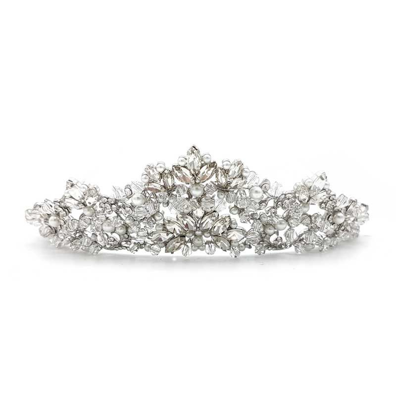 silver pearl bridal crown