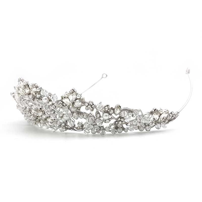 silver pearl and crystal crown