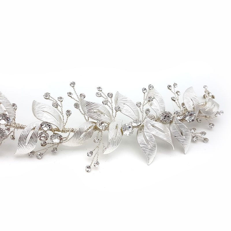crystal silver leaf hair vine