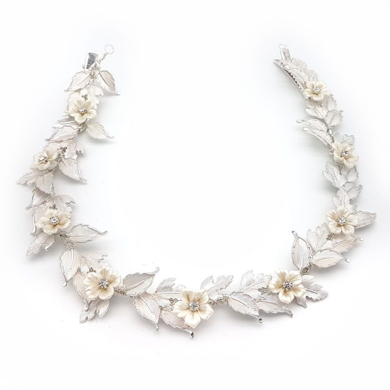 silver leaf bridal hair vine