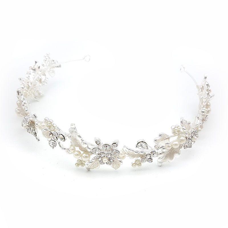 silver floral crystal headband