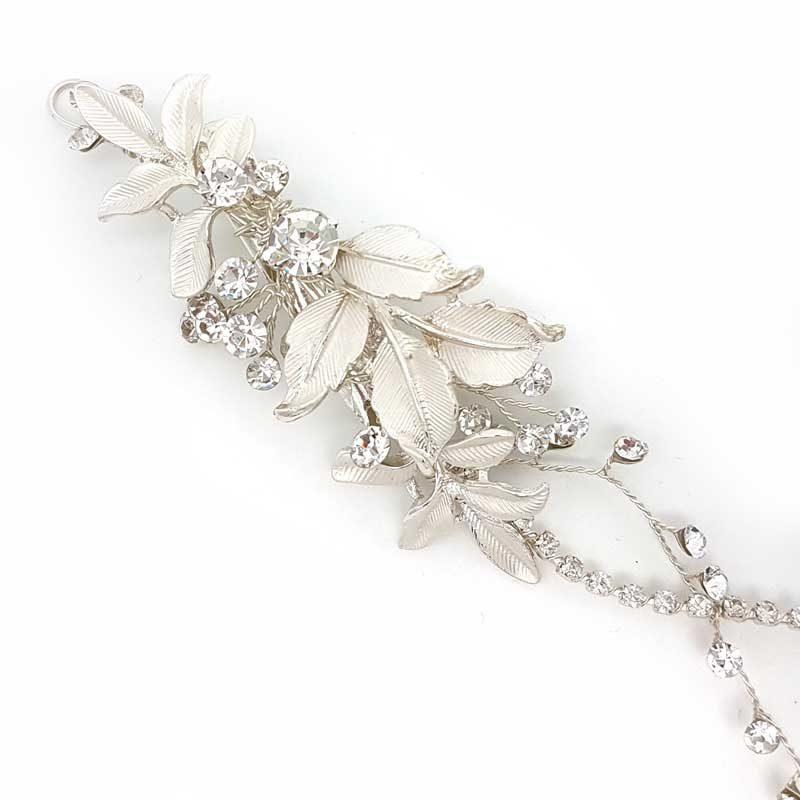silver leaf and crystal bridal hair vine