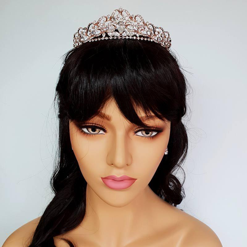 rose gold crystal bridal crown