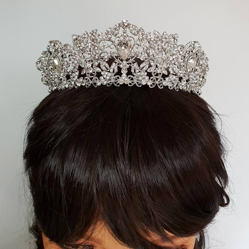 large silver wedding tiara