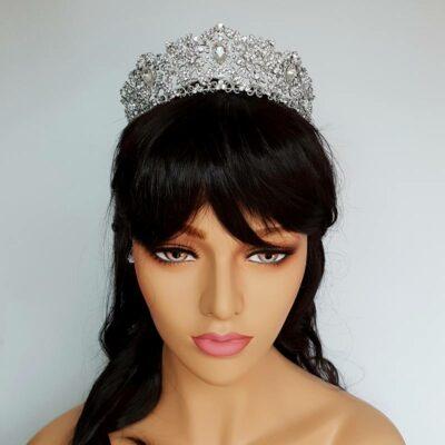 large silver crystal bridal crown
