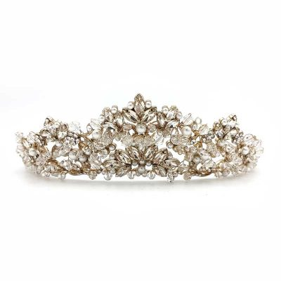 gold crystal and pearl bridal crown