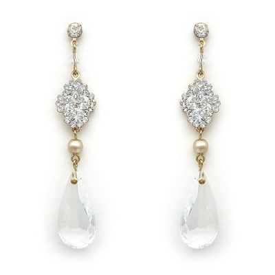 swarovski crystal and pearl elegant drop earrings