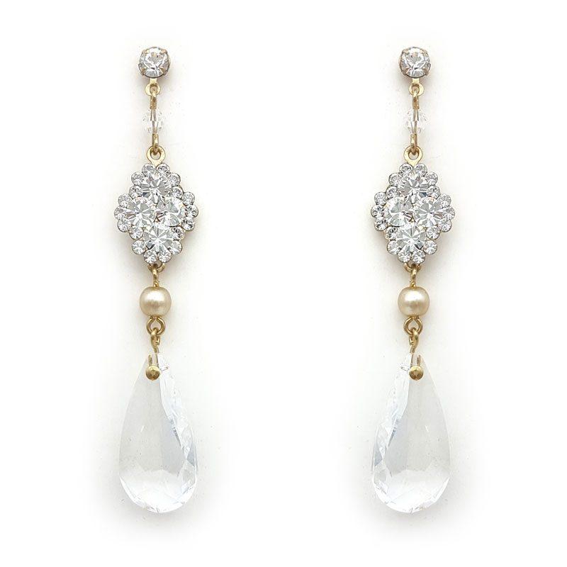 swarovski crystal and pearl elegant drop earrings