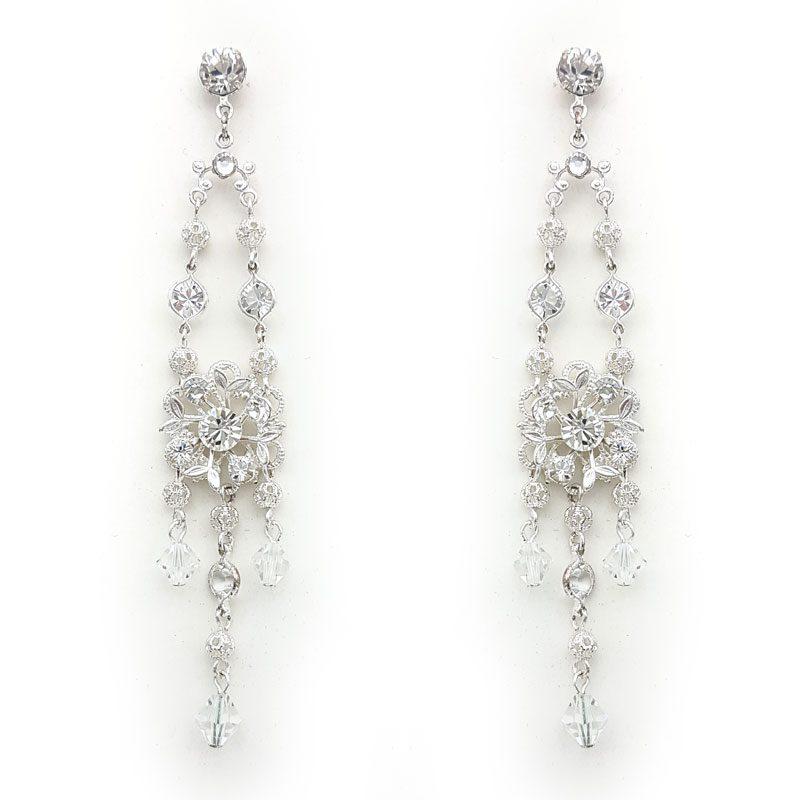 'Abigail' Swarovski Long Earrings (Silver/Gold/Rose Gold)