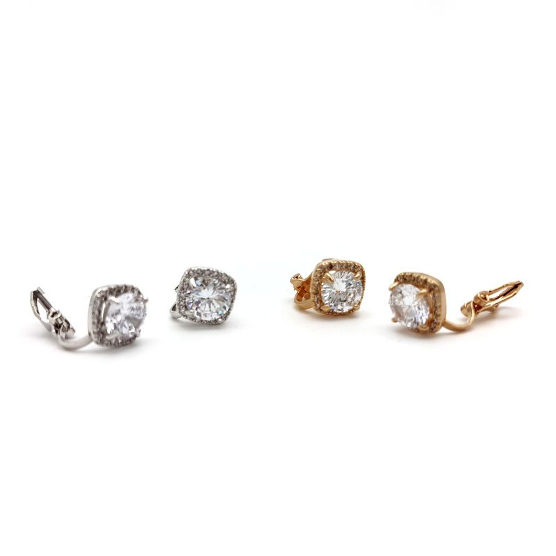 cubic zirconia small clip on studs
