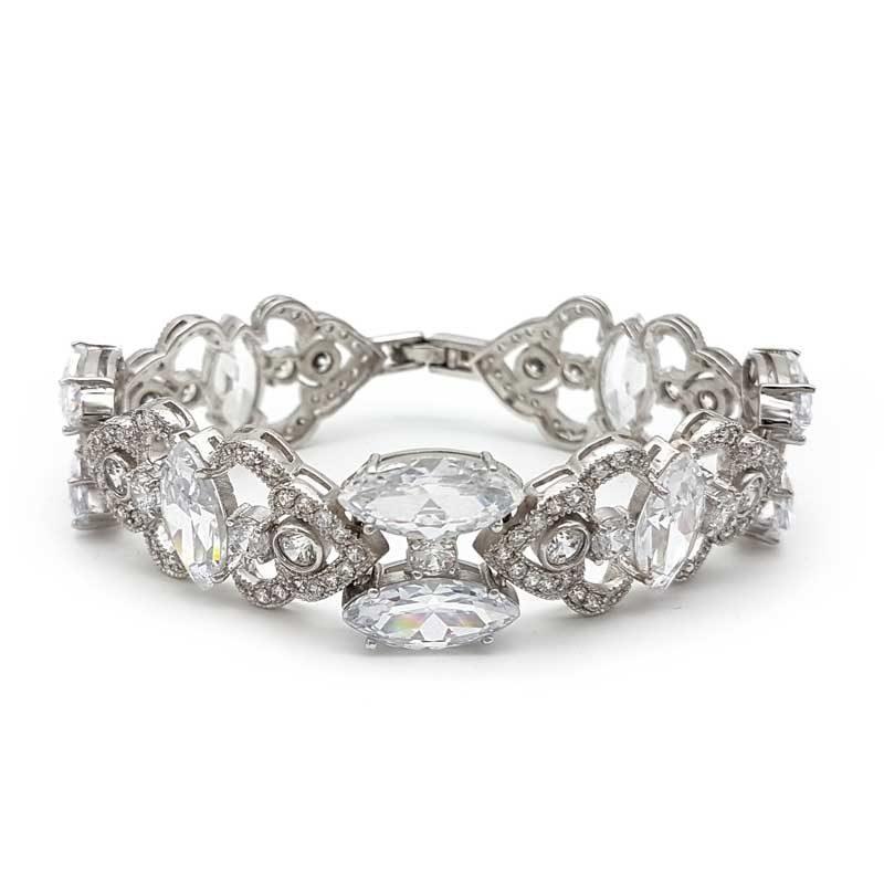 silver cubic zirconia cuff bracelet