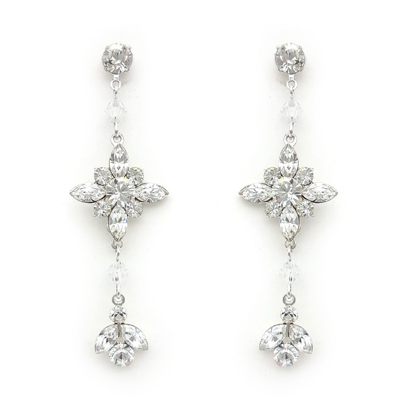 swarovski crystal silver bridesmaid drop earrings