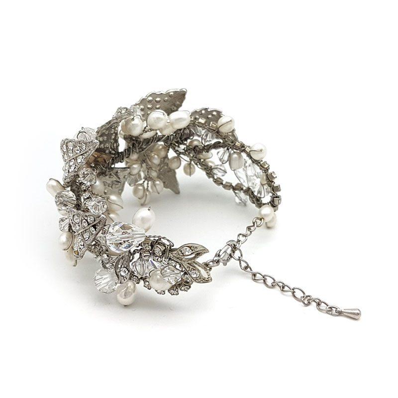 silver chunky bridal cuff