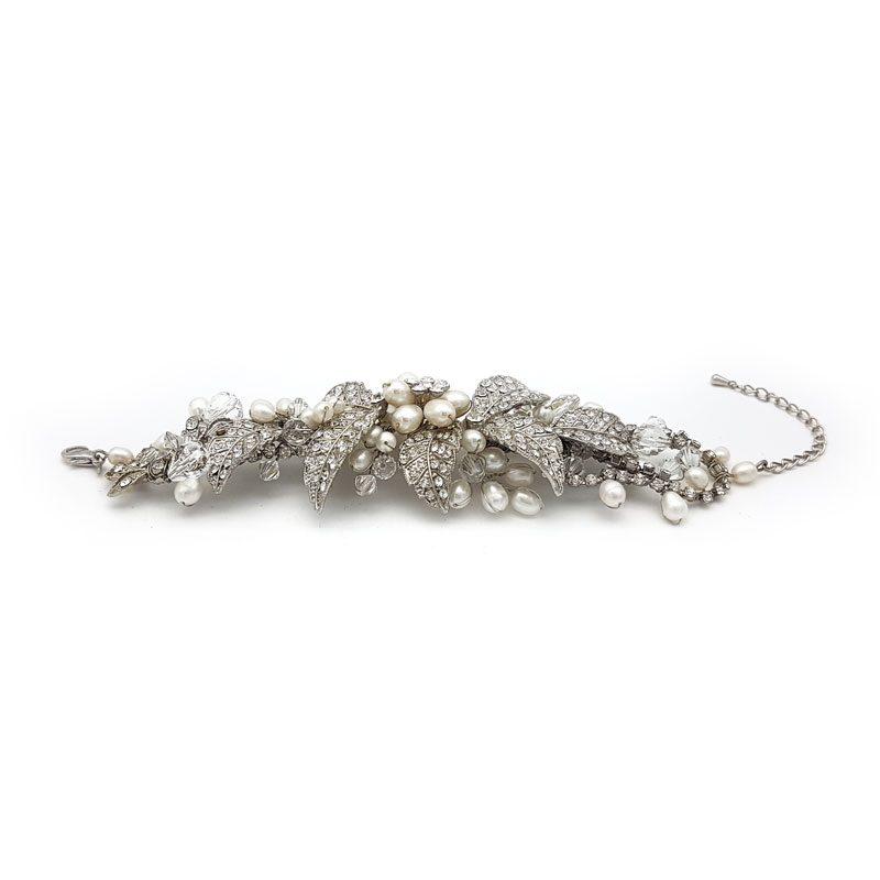 silver pearl bridal cuff bracelet