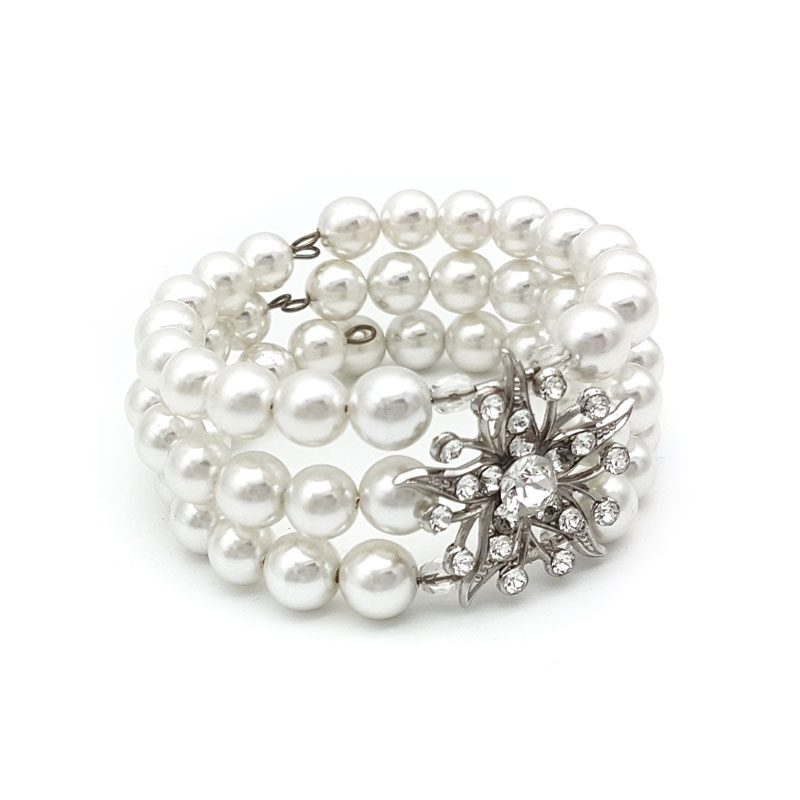 xwarovski pearl cuff bangle