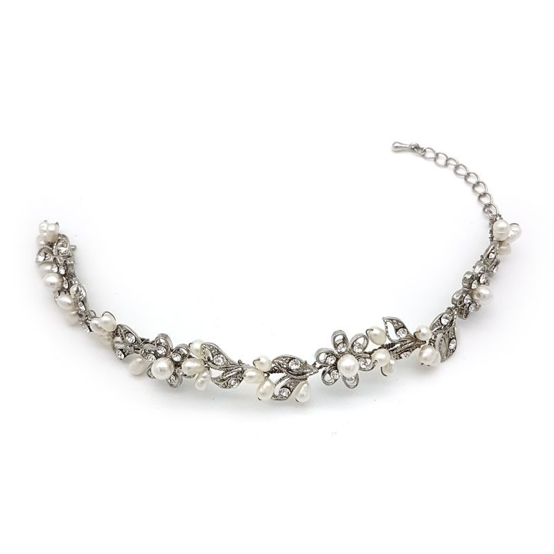silver floral bridal bracelet
