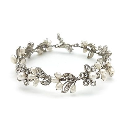silver pearl and floral bracelet