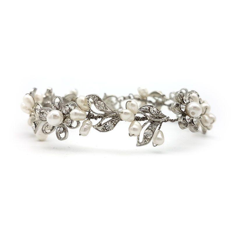 silver pearl bridal bracelet