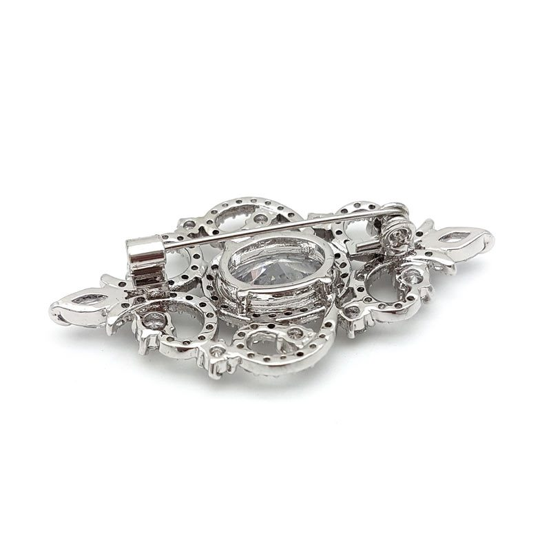 silver cubic zicronia bridal brooch