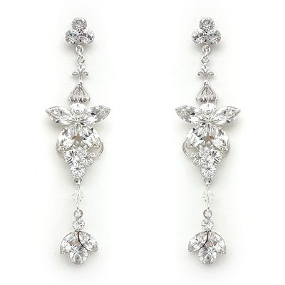 silver swarovski crystal long drop earrings