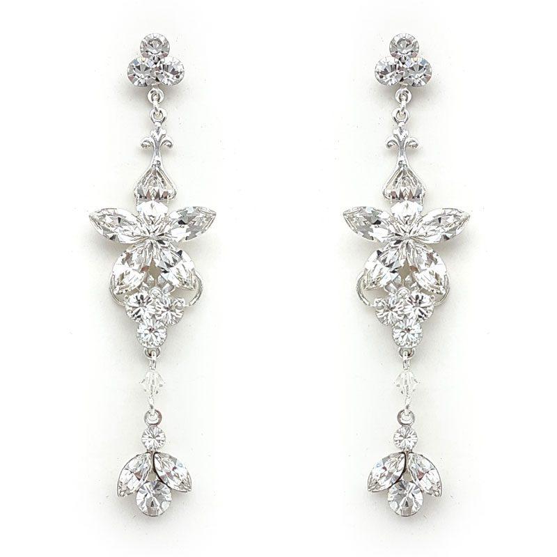 silver swarovski crystal long drop earrings