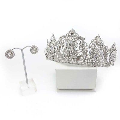 swarovski crystal bridal crown and earring set