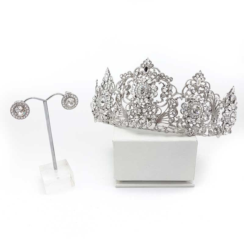 swarovski crystal bridal crown and earring set