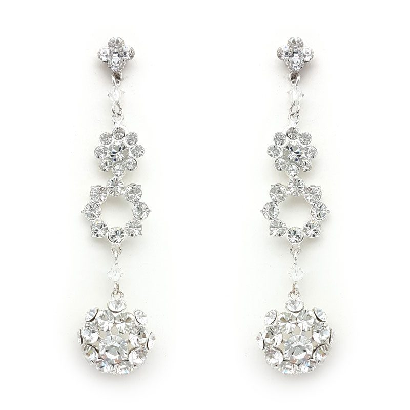 silver crystal long drop earrings