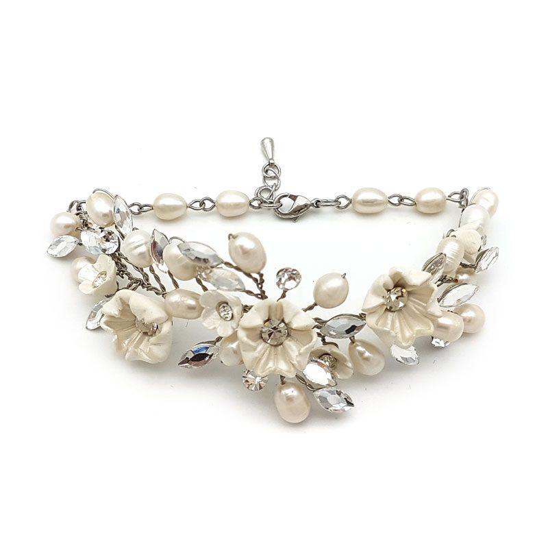 ivory crystal floral bracelet