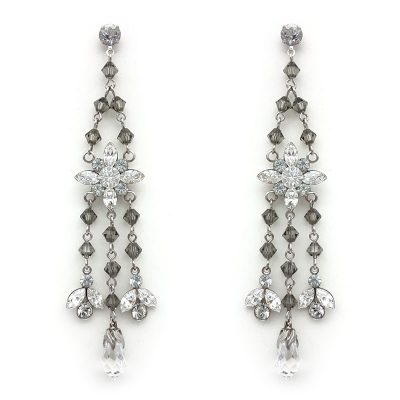 grey swarovski crystal long drop earrings