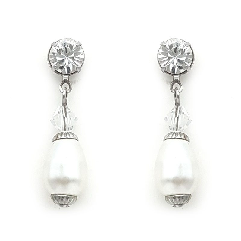 white pearl swarovski drop earrings