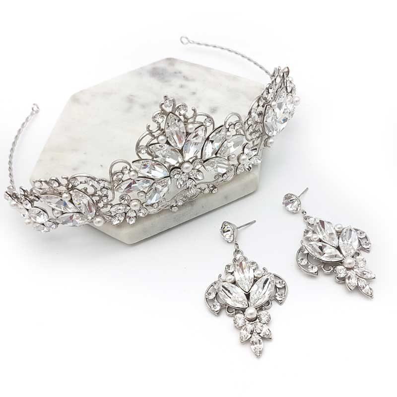 swarovski tiara and earrings set