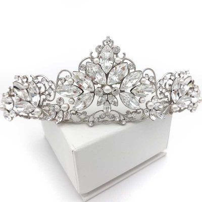 pearl and crystal bridal crown